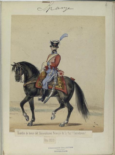 Guardia de honor del Generalisimo Principe de la Paz (Cazadores). (Año 1800).