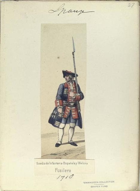 Guardia de Infanteria Española y Walona. Fusilero.  1718
