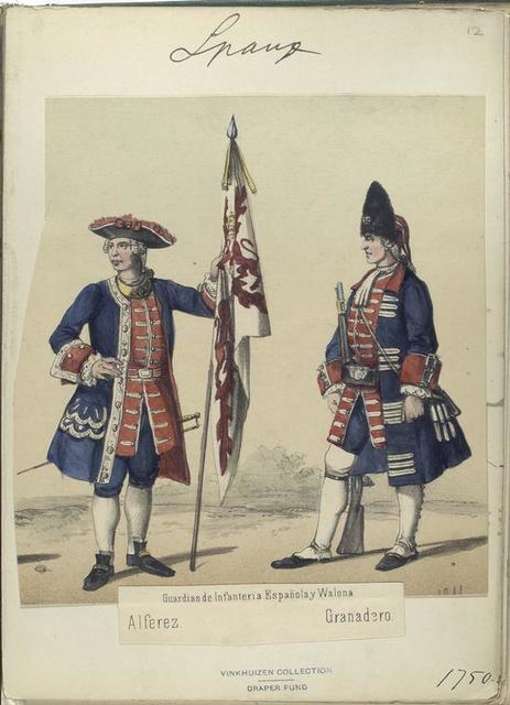Guardias de Infanteria a Española y Walona : Alferez, Granadero. 1750