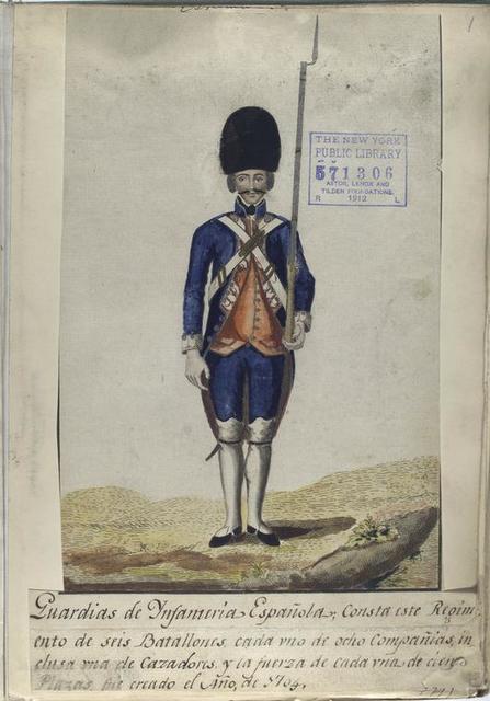 Guardias de Infanteria Española; Consta este Regimiento de seis Batallones cada vno de ocho Compañias, inclusa vna de Cazadores, y la fuerza de cada vna de cien Plazas, fue creado el Año, de 1704 (1797).