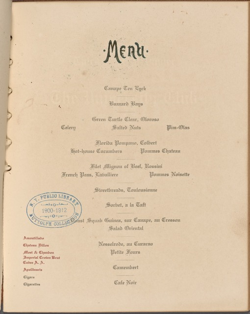 Hotel Ten Eyck, menu.