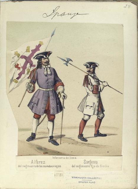Infanteria de linea: [a] Alferez del regimiento de los morados viejos; [b] Sargento, del regimiento fijo de Sicilia.1718