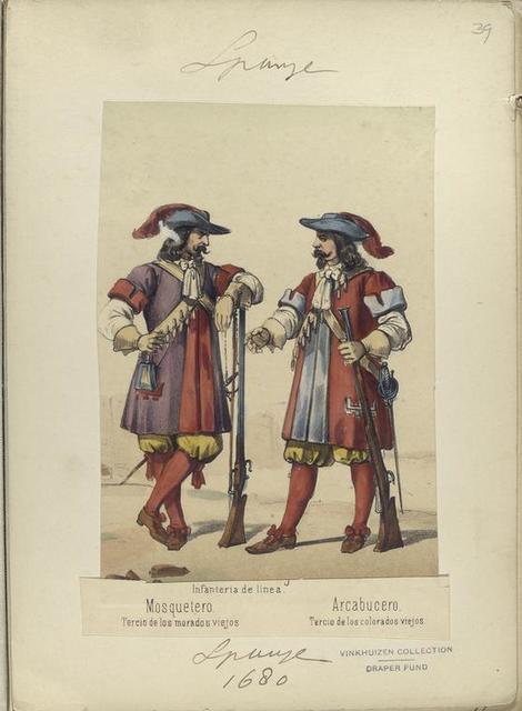 Infanteria de linea. [a] Mosquetero. Tercio de los morados viejos. [b] Arcabucero. Tercio de los colorados viejos. 1680