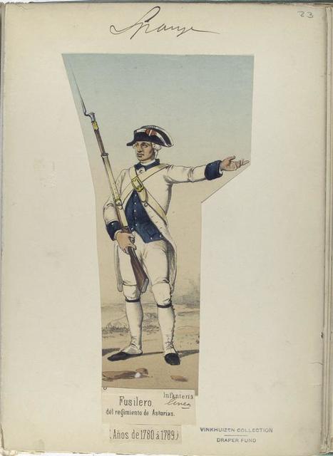 Infanteria de linea. Fusilero, del regimiento de Asturias.  (Años de 1780 á 1789).