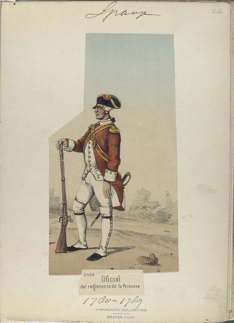 Infanteria de linea. Oficial, del regimiento de la Princesa.  (Años de 1780 á 1789).