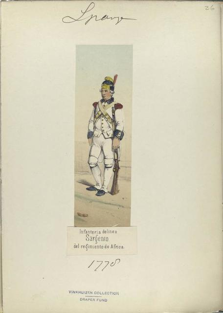 Infanteria de linea. Sargento, del regimiento de Africa. 1778