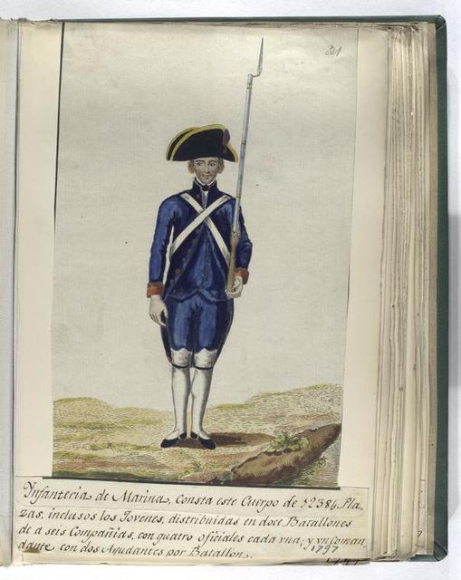 Infanteria de Marina, consta este Cuerpo de 12384 Plazas. Inclusos los Jovenes, distrubuidas en doce Batallones de a seis Compañias, con guatro oficiales cada vna; y vn Comandante con dos Ayudantes por Batallon. (1797)