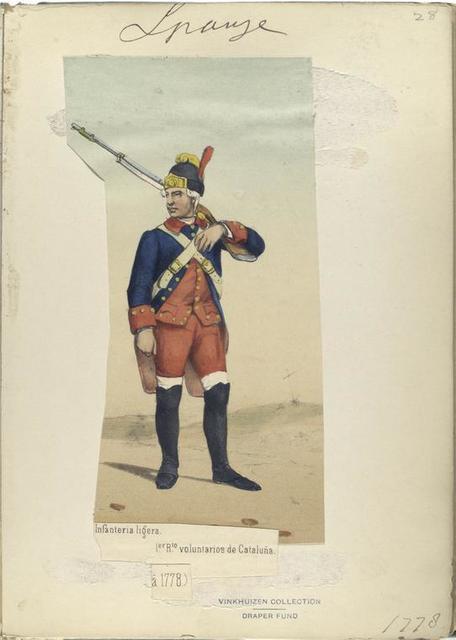 Infanteria ligera. 1-er R-to voluntarios de Cataluña. 1778