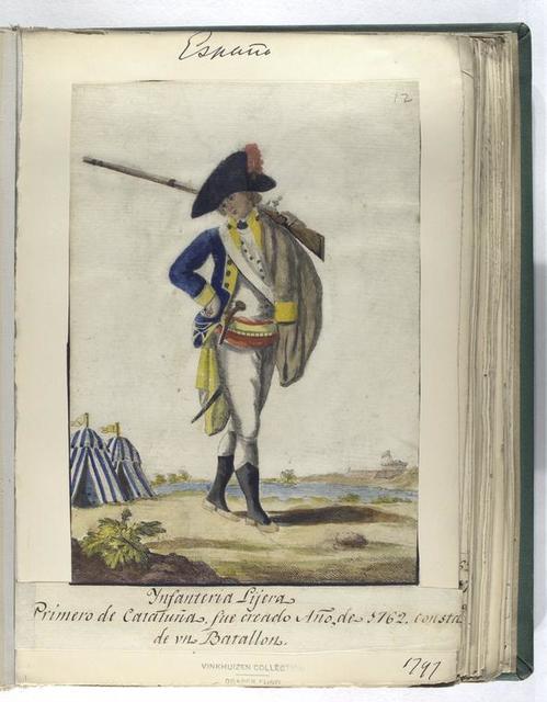 Infanteria Lijera. Primero de Cataluña, fue creado Año, de 1762. Consta de vn Batallon. (1797)
