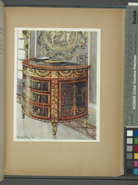 Inlaid satinwood commode. Ormolu mounts. Property of Henry Hirsch, Esq., ca. 1780.