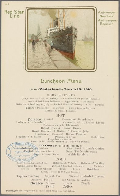 Luncheon Menu, Red Star Line Red Star Line Antwerpen-NewYork-Antwerpen-Boston