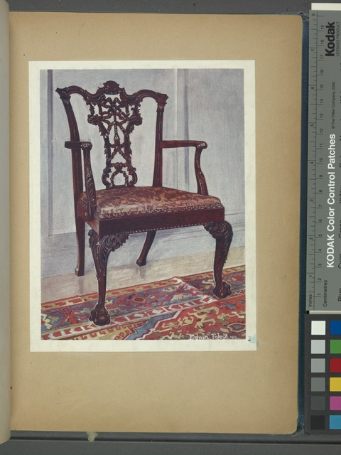 Mahogany arm-chair, style of Chippendale. Property of Lt.-Col. G. B. Croft Lyons, ca. 1750.