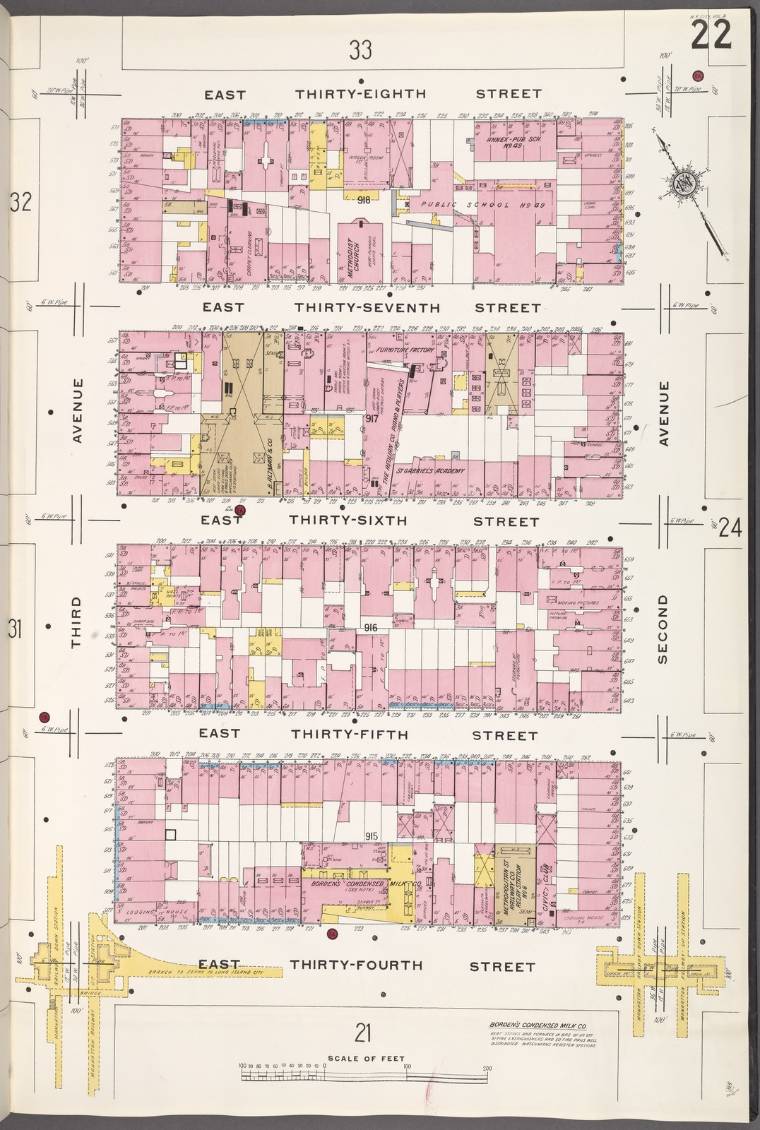 Manhattan, V. 4, Plate No. 22 [Map bounded by E. 38th St., 2nd Ave., E. 34th St., 3rd Ave.]