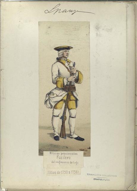 Milicias provinciales. Fusilero del regimiento de Lugo.  (Años 1750 a 1759)
