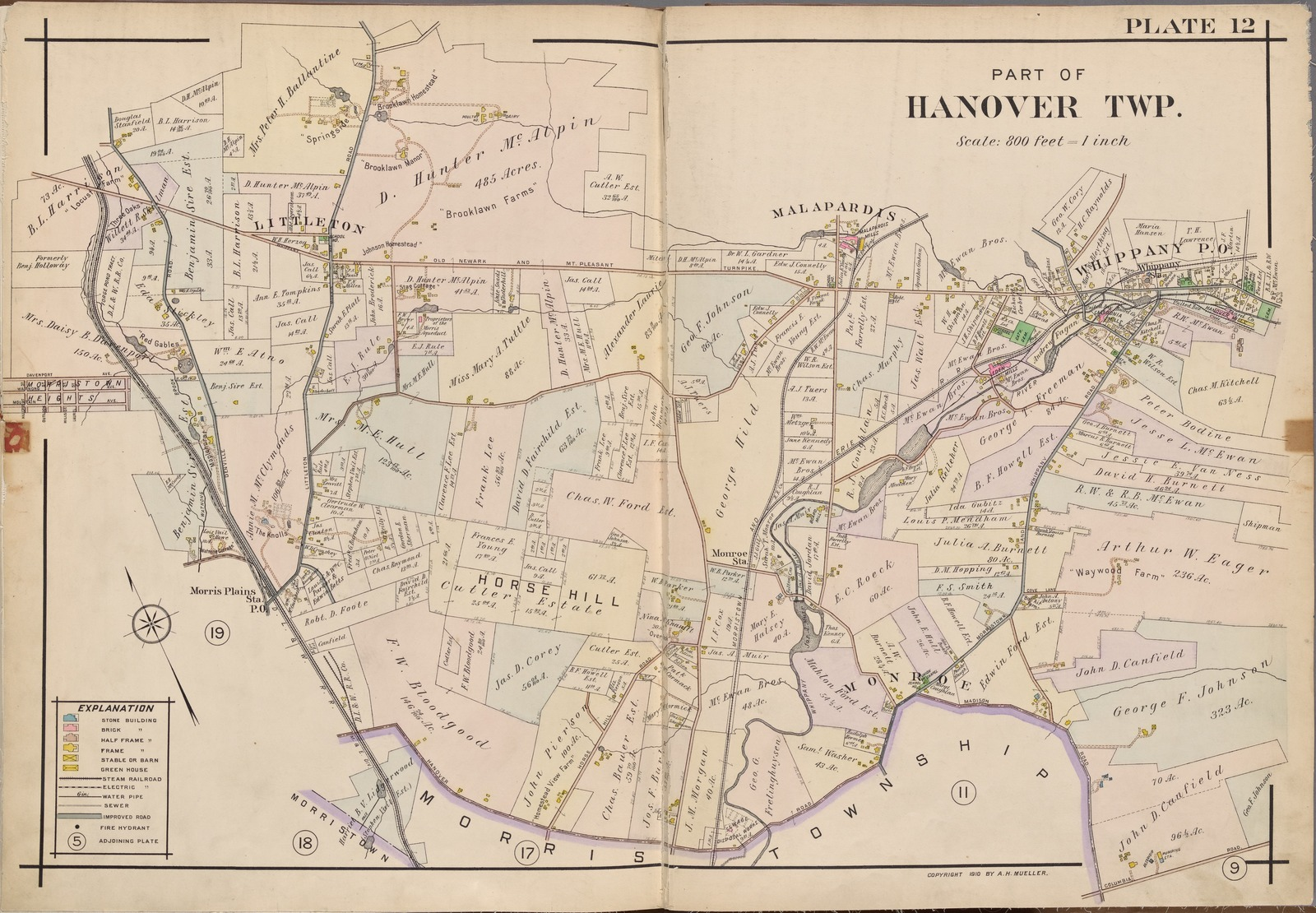 Morris County Double Page Plate No 12 Map Bounded By Whippany Ave