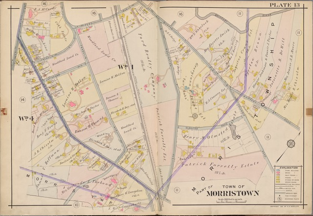 Morris County, Double Page Plate No. 13 [Map bounded by Whippany River, South St., Ford Ave., Morris Ave.]