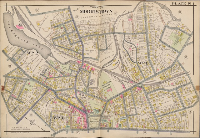 Morris County, Double Page Plate No. 16 [Map bounded by Washington Place, Ford St., South St., Park Pl., Washington St., Atno Ave., Harrison St., Hone Ave., Hillairy Ave.]