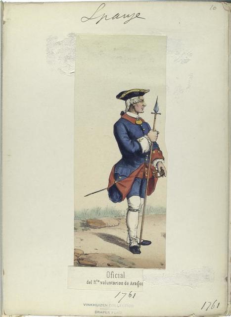 Oficial del  R.-to [Regimiento] voluntarios de Aragon.  1761
