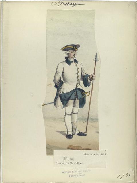 Oficial, del regimiento de Oran. Infanteria de linea.  1761