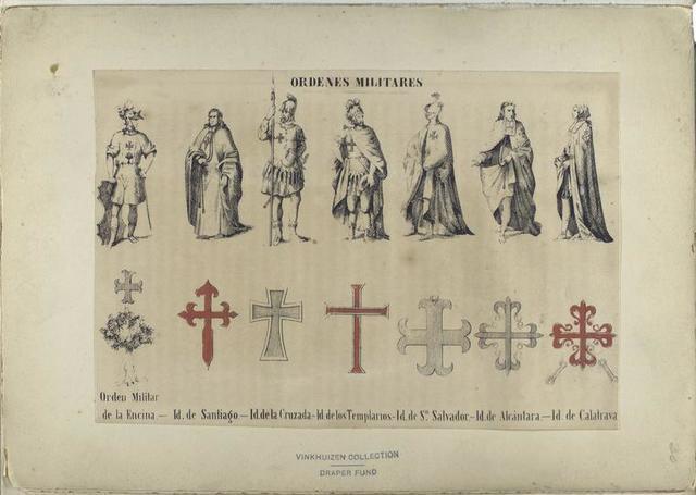 Ordenes militares: [1] Orden Militar de la Encina. -- [2] Id. de Santiago. -- [3] Id. de la Cruzada. -- [4]Id. de los Templarios. -- [5] Id. de S-n Salvador. -- [6] Id. de Alcántara. -- [7] Id. de Calatrava.