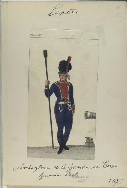 Pag. 167] [ Artegleria  (=Artilleria?) de la Guardia de Corps, Guardia Real. (1798)