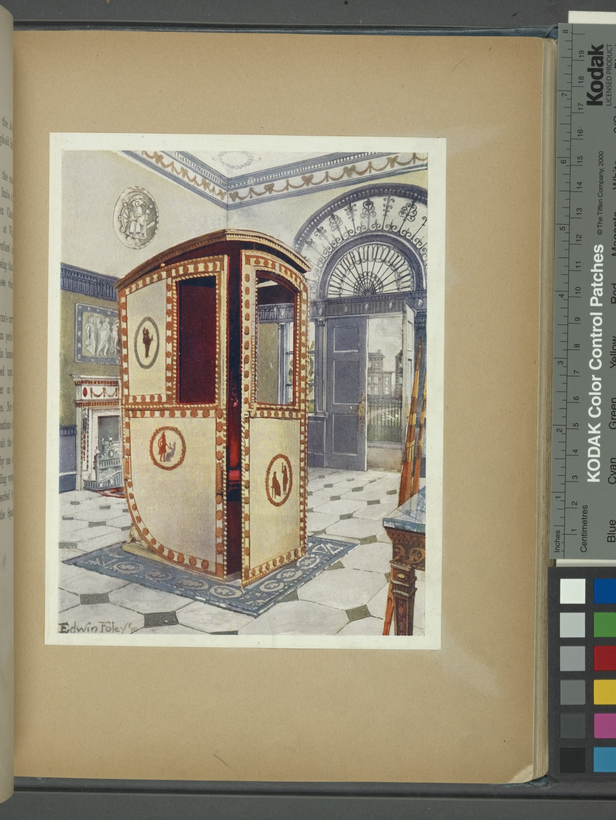 Painted and lacquered sedan chair with domed top. Designed by the Brothers Adam for Lady Watkin Williams Wynn. Now in the Bethnal Green Museum, ca. 1776.