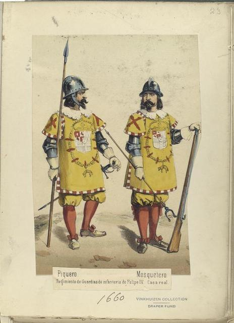 Piquero; Mosquetero. Regimiento de Gauardias de infanteria de Felipe IV. Casa real. (1660)