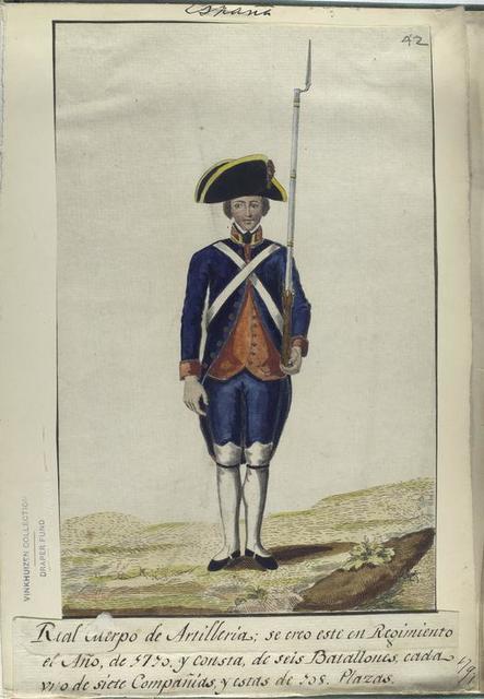 Real cuerpo de Artilleria; se creo este en Regimiento el Año, de 1710, y consta, de seis Batallones, cada vno de siete Compañias, y estas de 108 Plazas. (1797)