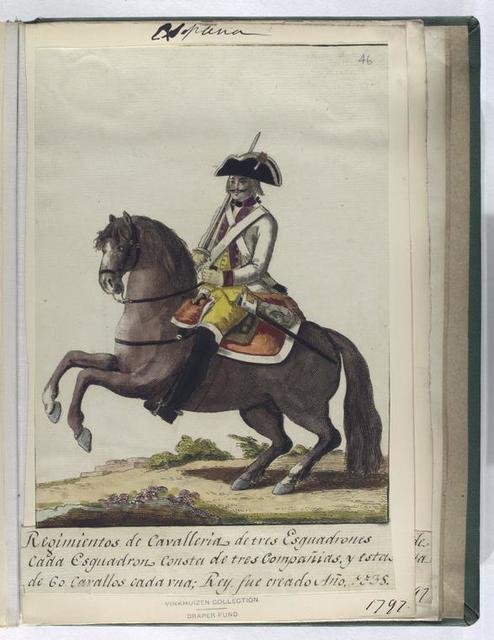 Regimientos de Cavalleria de tres Esguadrones cada Esguadron Consta de tres Compañias, y esta de Co. Cavallos cada vna; Rey, fue creado Año, 1538 (1797).
