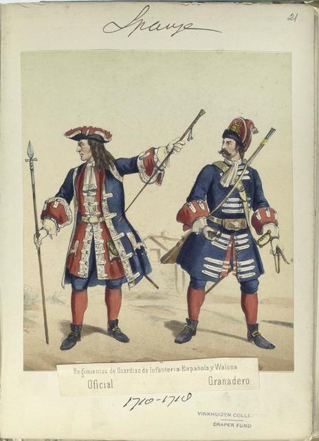 Regimientos de Guardias de Infanteria Española y Walona: [a] Oficial; [b] Granadero. 1710-1718