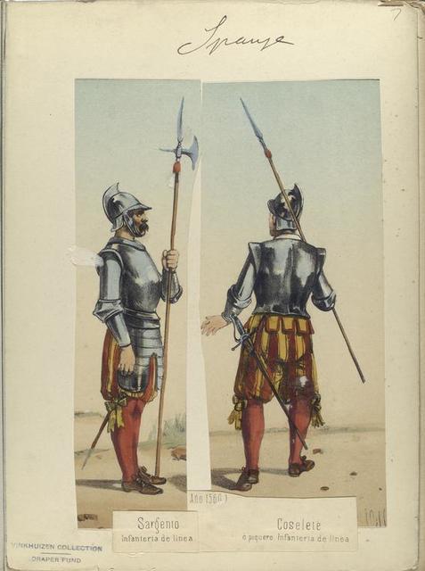 Sargento Infanteria de linea; Coselete ó piquero Infanteria de linea. (Año 1560)