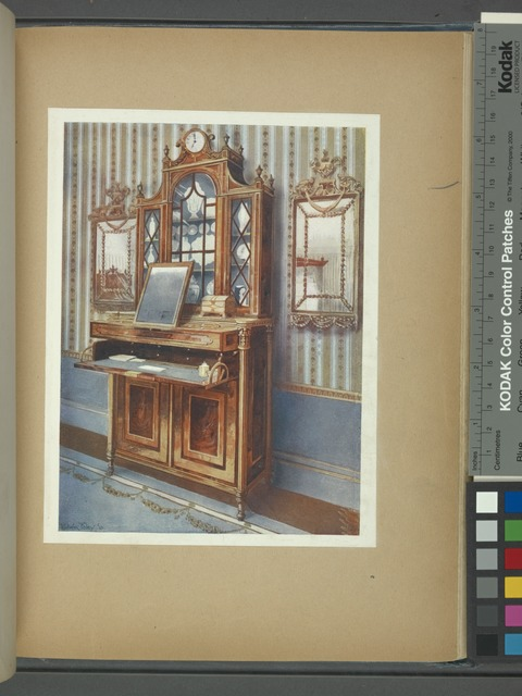 Satinwood and mahogany inlaid dressing cabinet. In the king's bedroom, West Dean Park, property of Hon. William James, ca. 1785.