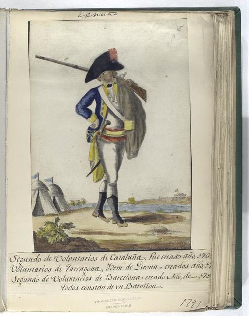 Segundo de Voluntarios de Cataluña, fue creado año. 1762; Voluntarios de Tarragona, Ydem de Gerona, creados año. 17[??]; Segundo de Volutarios de Barcelona, creado Año, de 179[?].Todos constan de vn Batallon. (1797)