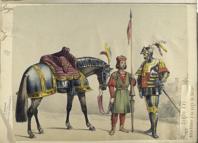 Siglo XVI. Rico-home y su page de lanza. 1530