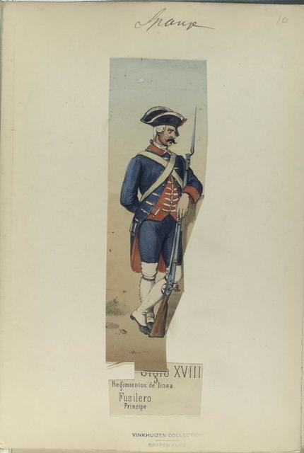 Siglo XVIII. Regimientos de linea. Fusilero Principe.