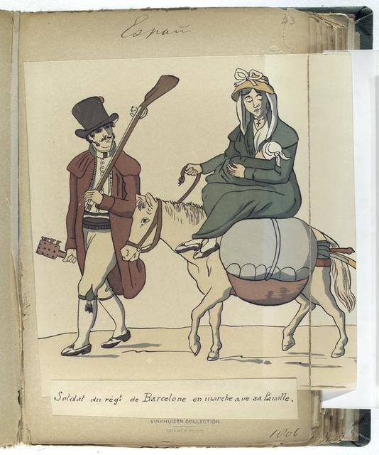 Soldat du reg-t de Barcelone en marche avec sa famille. (1806)