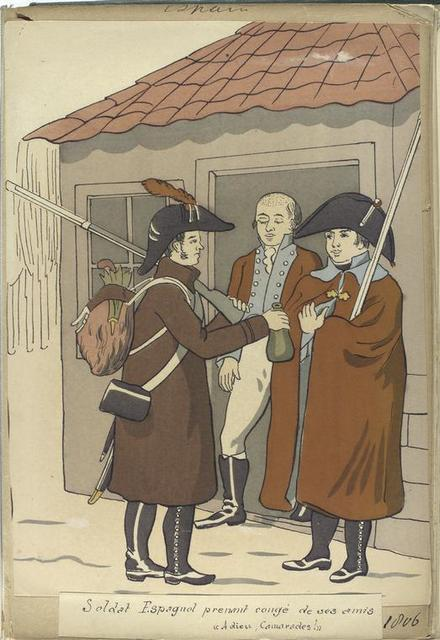 """Soldat Espagnol prenant congé de ses amis """"Adieu, Camarades!"""" (1806)"""