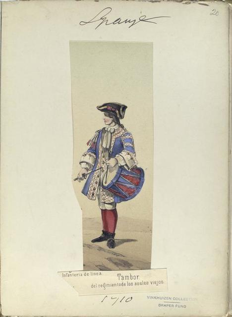 Tambor, del regimiento de los azules viejos. Infanteria de linea.  1710