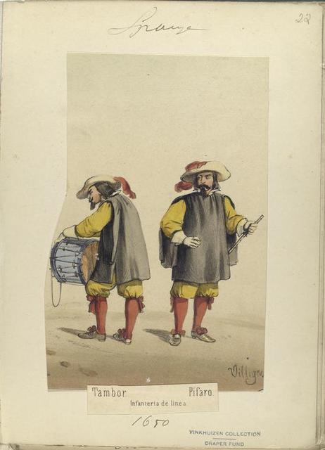 Tambor; Pifaro. Infanteria de linea. 1650