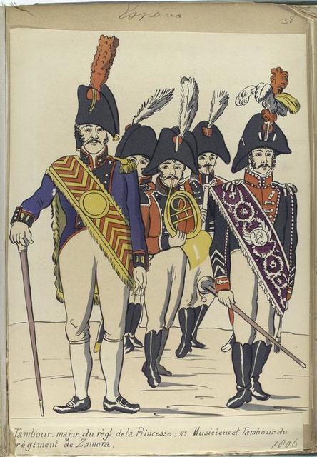 Tambour-major du reg-t de la Princesse; 2. Musiciens et Tambour du regiment de Zamora (1806).