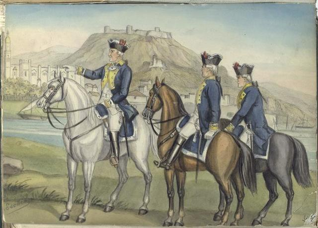 Three mounted officers 1734