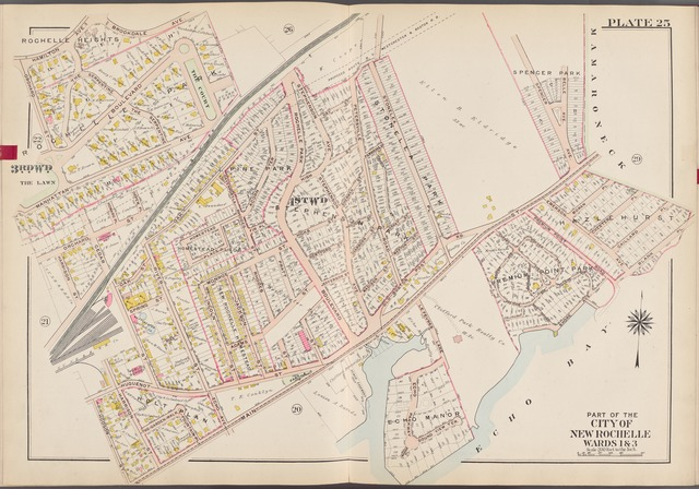 Westchester, V. 1, Double Page Plate No. 25 [Map bounded by Mamaroneck, Echo Bay, Main St., Hudson St., Orchard St., Hamilton Ave.]