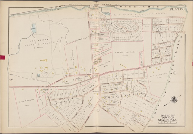 Westchester, V. 1, Double Page Plate No. 8 [Map bounded by Town of Greenburg, Town of White Plains, Cushman Rd., Fenimore Rd., Murray Hill Rd.]