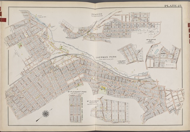 Westchester, V. 2, Double Page Plate No. 25 [Map bounded by Columbus Drive Ave., Wall Ave., WashingtonSt., Nostrand Ave., Westchester Ave., Kensico Rd., Maple Ave., Linda Ave., Stevens Ave.]