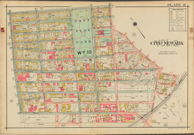 Newark, V. 2, Double Page Plate No. 31 [Map bounded by Walnut St., Elm Rd., Backus St., Thomas St., Pacific St.]