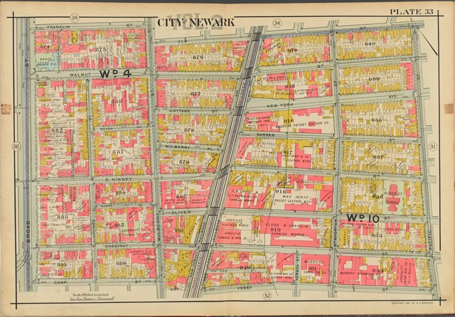 Newark, V. 2, Double Page Plate No. 33 [Map bounded by Franklin St., Elm St., Pacific St., Vesey St., Camp St., Broad St.]