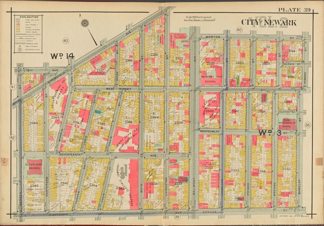 Newark, V. 2, Double Page Plate No. 39 [Map bounded by Morton St., Howard St., Barclay St., Spruce St., 18th Ave., Bergen St., Springfield Ave.]
