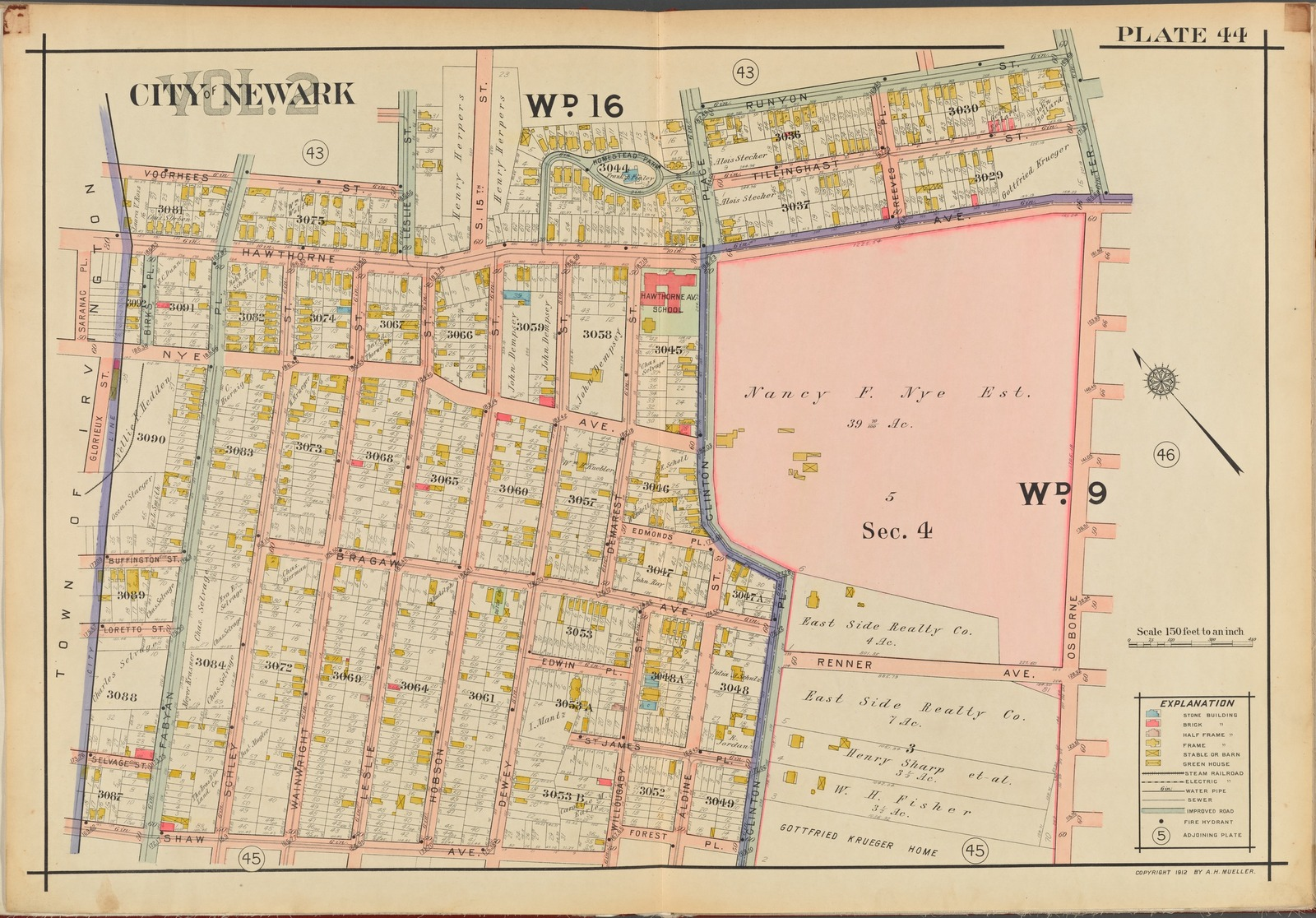 Newark, V. 2, Double Page Plate No. 44 [Map bounded by Runyon St., Osborne Ter., Shaw Ave., Saramac Pl.]