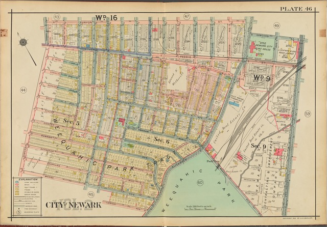 Newark, V. 2, Double Page Plate No. 46 [Map bounded by Runyon St., Frelinghuysen Ave., Lehigh Ave., Mapes Ave.]