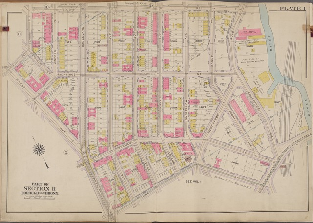 Plate 1 [Map bounded by E. 172nd St., Bronx River, Home St., Wilkins Ave., 170th St.]